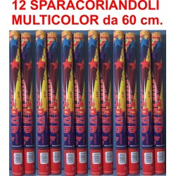 SPARACORIANDOLI MULTICOLOR 12 Pz. 60 cm Party Festa Compleanno