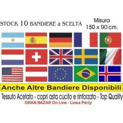 10 BANDIERE DEL MONDO A SCELTA Mis. 150 x 90 cm. Party Festa Manifestazione STOCK