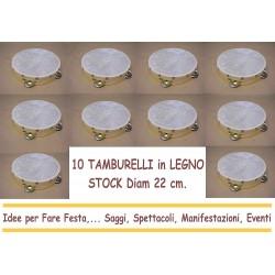 10 TAMBURELLI in LEGNO 22 cm diametro in LEGNO e SONAGLI in FERRO ARTIGIANALE