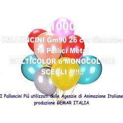 1000 PALLONCINI MULTICOLOR METAL 10 Pollici 26 cm diam. colori pastello stock