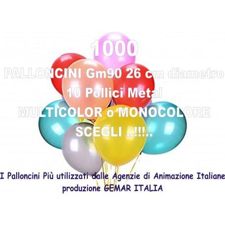 1000 PALLONCINI MULTICOLOR METAL 10 Pollici 26 cm diam. colori pastello stock