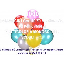 1000 PALLONCINI MULTICOLOR METAL 12 Pollici 30 cm diam. colori pastello stock