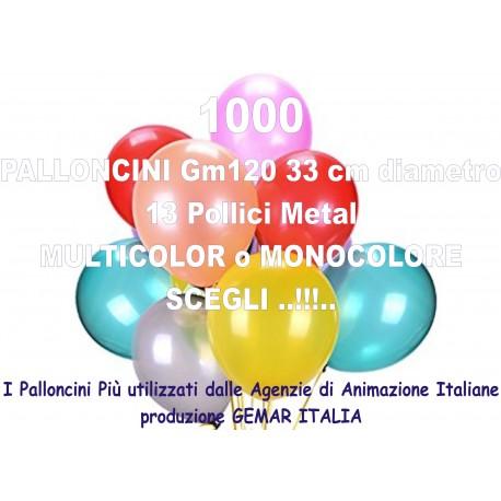 1000 PALLONCINI MULTICOLOR METAL 13 Pollici 33 cm diam. colori stock
