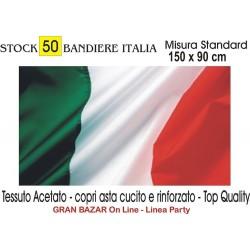 50 BANDIERA BANDIERE ITALIA TRICOLORE Mis. 150 x 90 cm. Party Festa Manifestazione STOCK