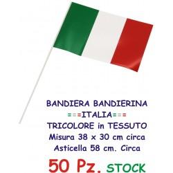 BANDIERA BANDIERINA ITALIA TRICOLORE 50 Pz. Mis. 38 x 30 cm. con Asta in Tessuto in Stock