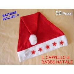Cappello Cappelli Babbo Natale con stelline luminose 50 pezzi in panno lenci STOCK -BATTERIE OMAGGIO INCLUSE-